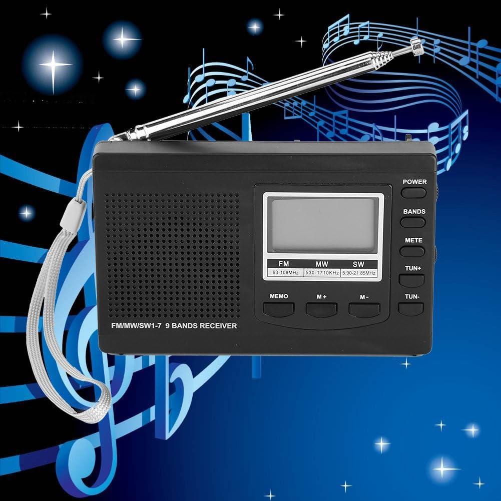 Grau VBESTLIFE Tragbare Mini Radios FM//MW//SW Empf/änger mit Digital Wecker FM Radio Receiver