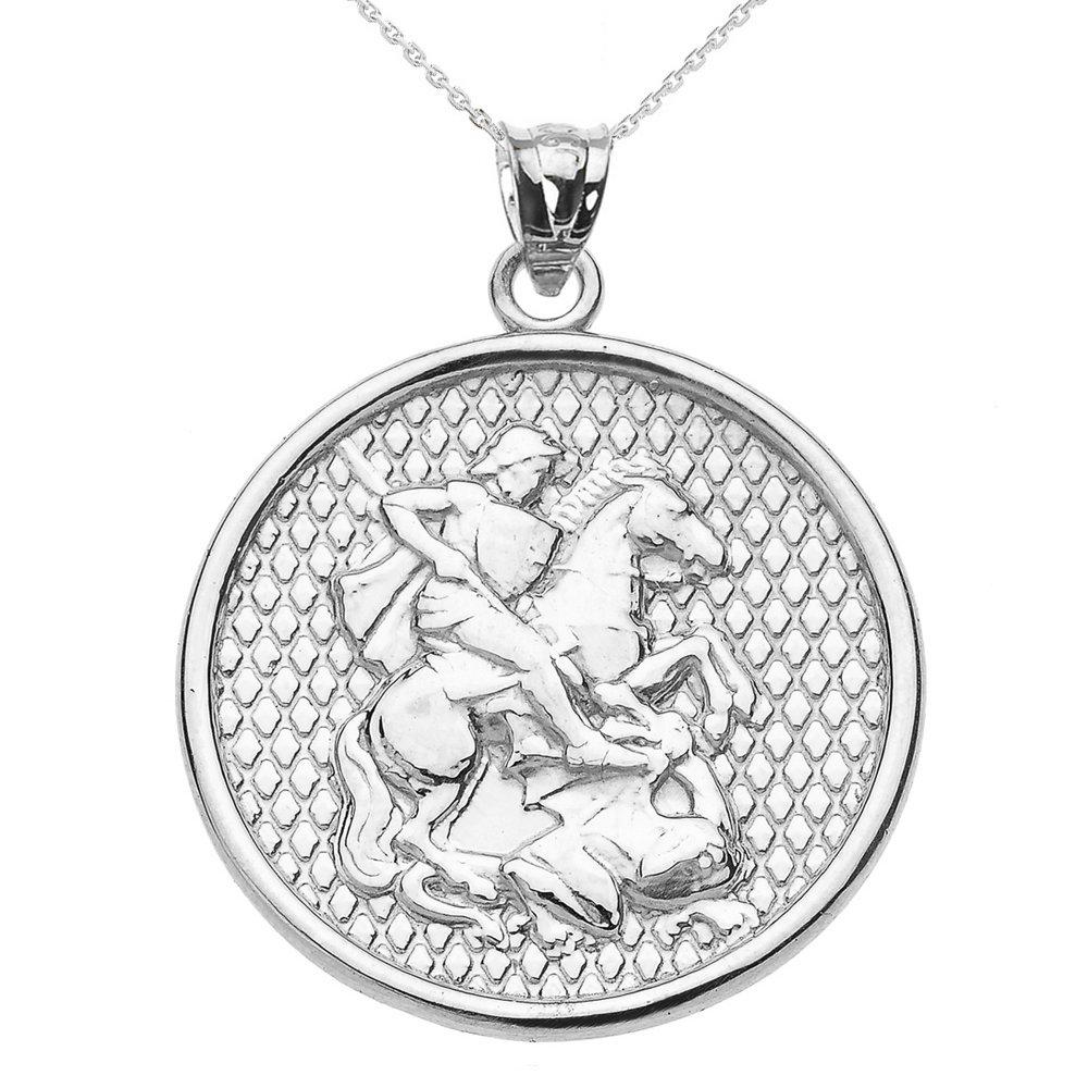 925 Sterling Silver Saint George Pendant Necklace