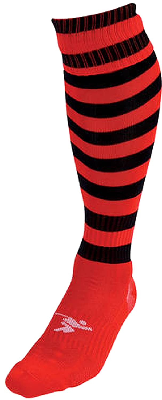 Precisionトレーニング1 – 1 Inch Hooped Pro Soccerスポーツストライプフットウェアソックス B0198MAECY Mens レッド/ブラック レッド/ブラック Mens