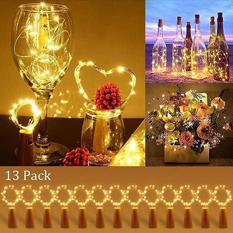 [13 Piezas] Luces para Botellas, Zorara 2m 20 LEDs Lámparas de Botellas con Pilas, Luz de Botella para Decoración de Boda, DIY Fiesta, Celebración, ...