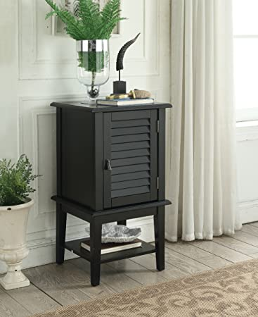 Black Finish Square Side End Table Bathroom Cabinet Open Storage and Shutter Door with Lower Shelf