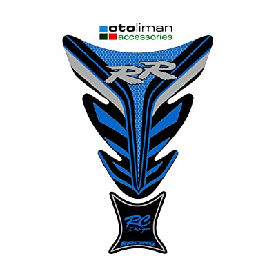 OTOLIMAN 3D Motorcycle Motorbike Racing Fuel/Oil/Gas Tank Decals Vinyl and Gel Sticker Pad Gas Cap Carbon Fiber Tank Pad Protector for Honda Suzuki Kawasaki Yamaha TNKP019 (Blue): Automotive