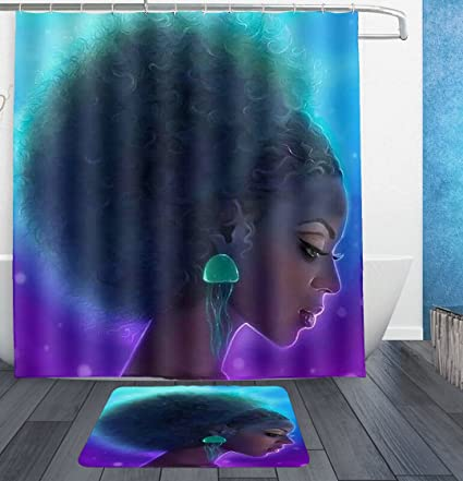 Afro Girl Sexy Lady Shower Curtains With Hooks And Bath Rug Mat