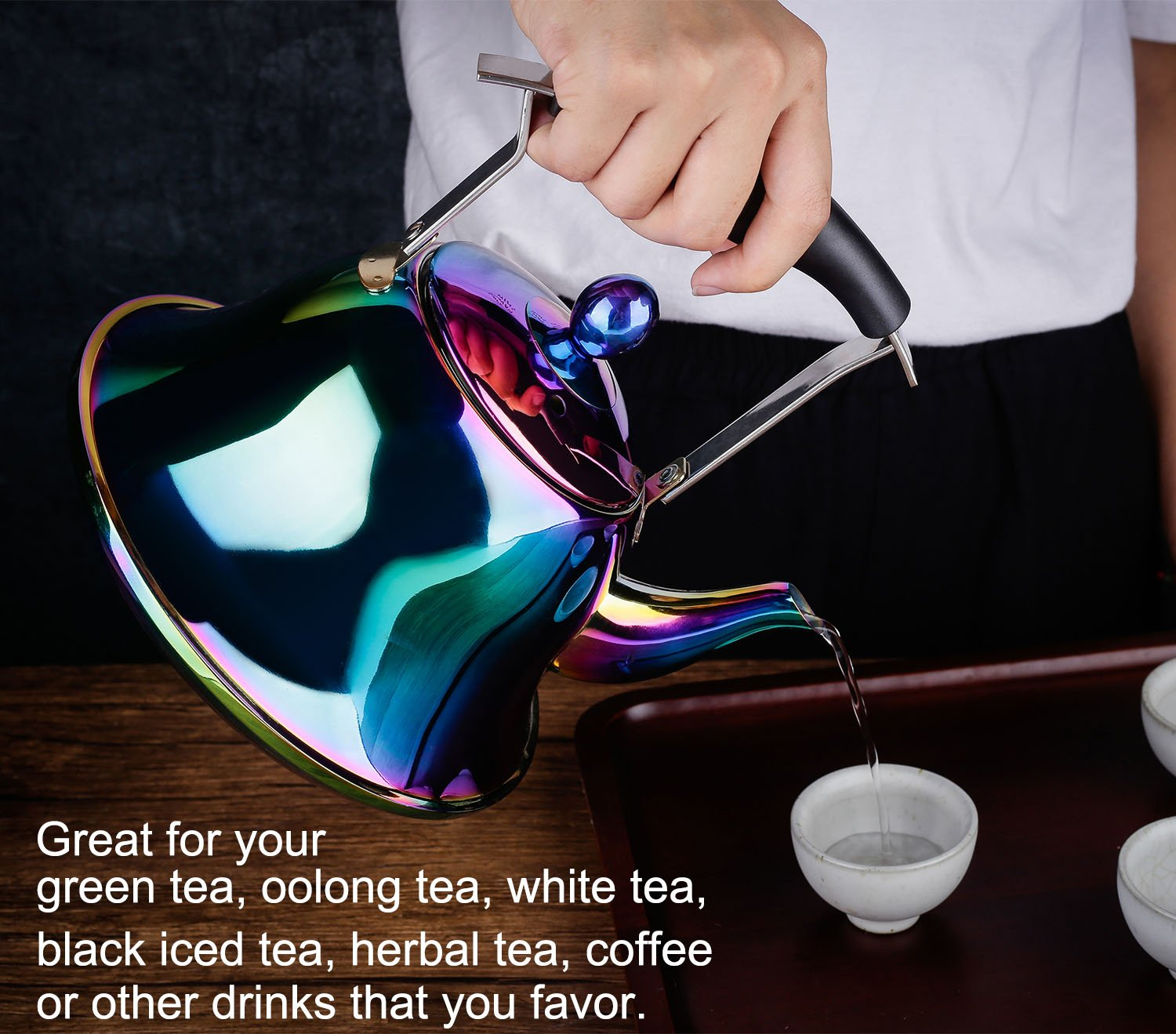 Onlycooker Whistling Tea Kettle Stainless Steel Stovetop Teakettle Sturdy Teapot for Tea Coffee Fast Boiling with Infuser Color Rainbow Mirror Finish 2 Liter 2.1 Quart