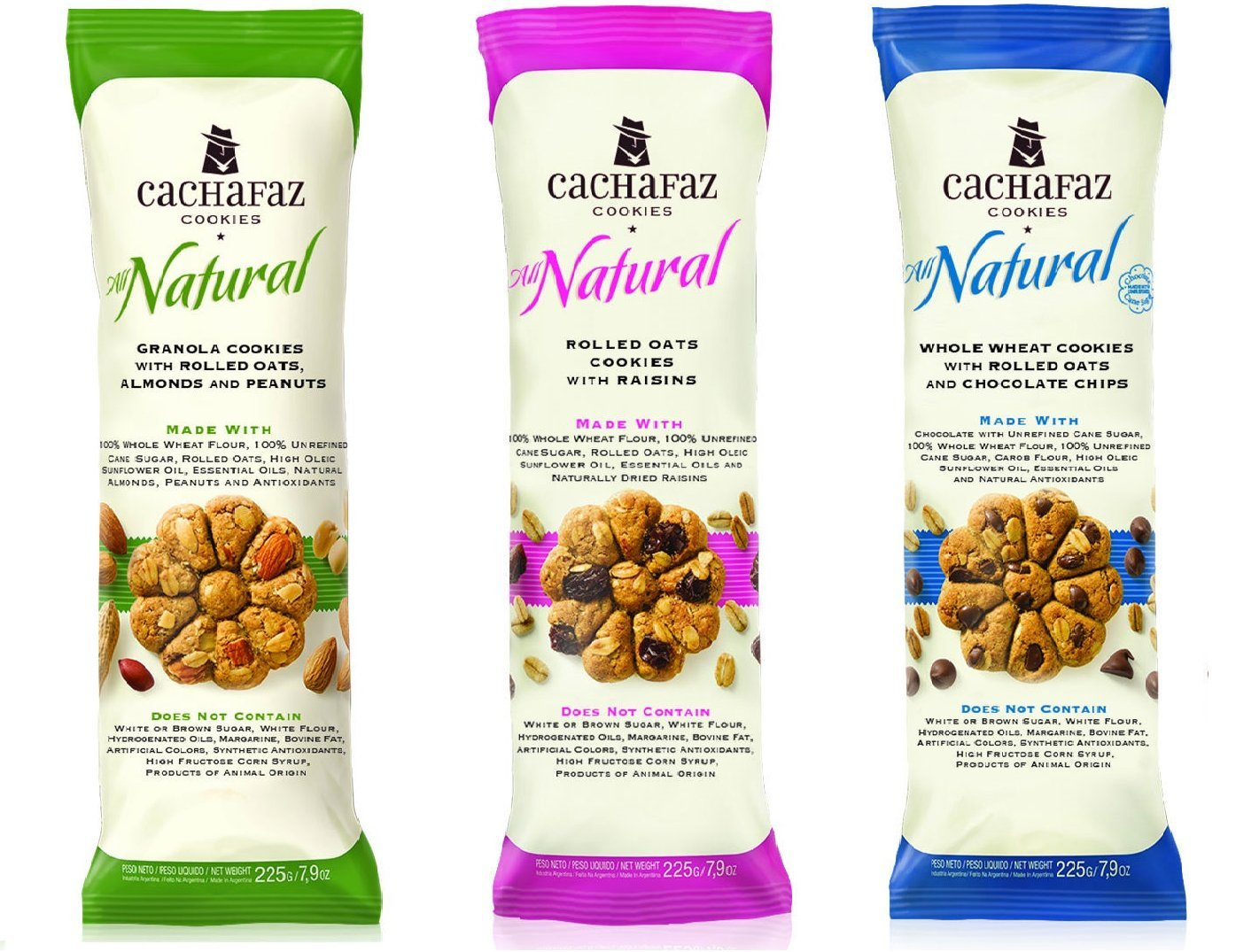 Cachafaz All Natural Whole Wheat Cookies Pack of 3 Best Selling Flavors (Granola-Raisins and Chocolate Chips flavors ) 45cal per cookie/No White Flour/No Margarine/No Bovine Fat/NoHFCS