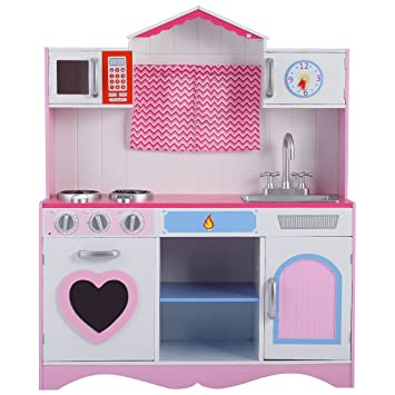 Costzon New Wood Kitchen Toy Kids Cooking Pretend Play Set Toddler Wooden  Playset Gift By Costzon