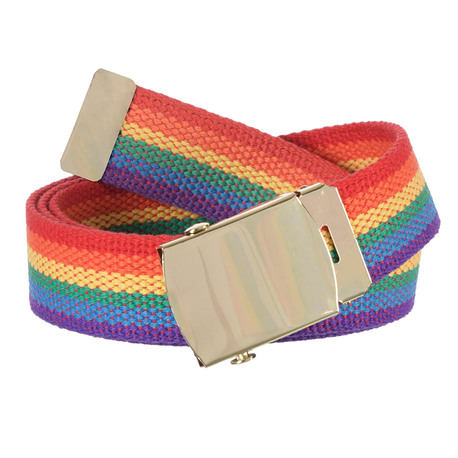 Gary Majdell Sport Kids 1 ¼ Inch Wide Cut To Fit Rainbow Pride Canvas Web Belt