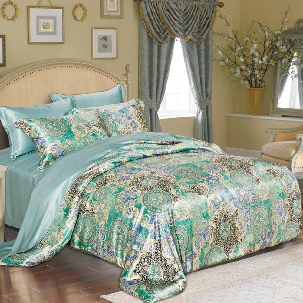 4% シルク布団カバー セット,4個セット,シルク生地,超低刺激性柔らかい絹のような高級印刷 1 掛け布団カバー, 1 ベッド シート, 2 枕カバー-O B07F662GCV Queen2|O O Queen2
