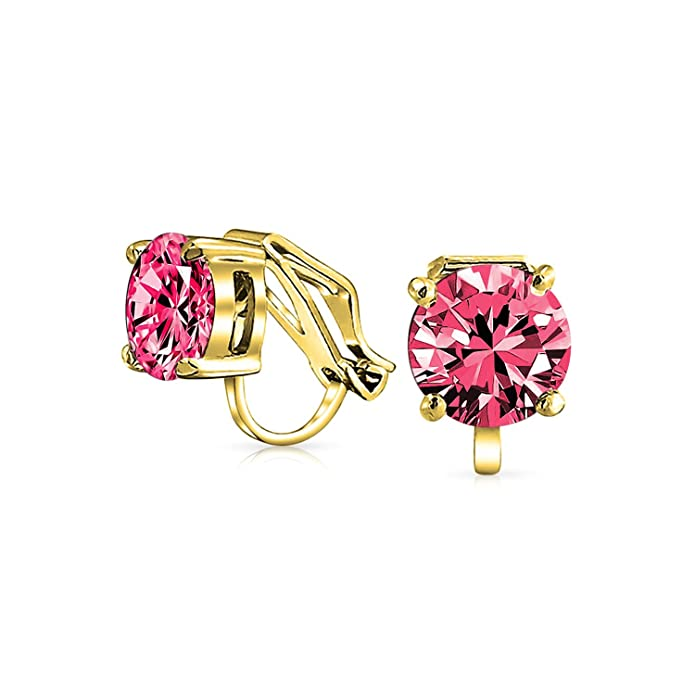 7fd9aad17 Amazon.com: 2 CT Red Pink Brilliant Cut Solitaire Round Cubic Zirconia CZ  Clip On Stud Earrings Simulated Ruby 14K Gold Plated Brass: Jewelry