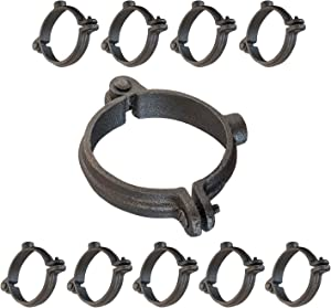 HIGHCRAFT HINGB-38-10 Industrial Decor Hinged Split Ring Pipe Hanger 3/8 in. Malleable Iron, with 3/8 in. Rod Fitting, Vintage Mounting Bracket for Tubing, Shower Curtain, Tiki Torch (10 Pack)