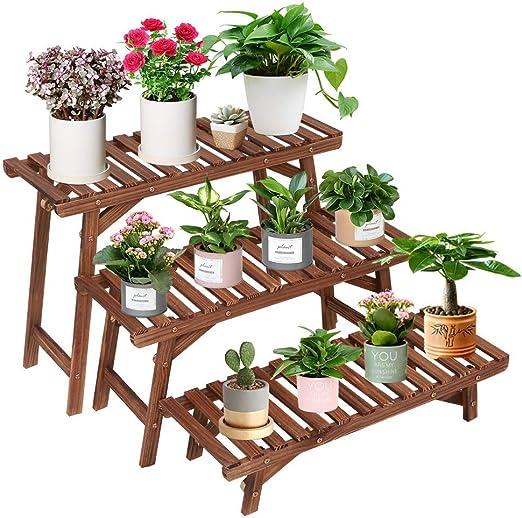 Soporte de madera para plantas de interior y exterior, 3 niveles, estante esquinero para plantas, escalera,