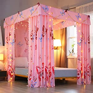 Mengersi Princess Four Corner Post Bed Curtain Canopy Mosquito Net for Girls Kids (Full, Pink Butterfly)