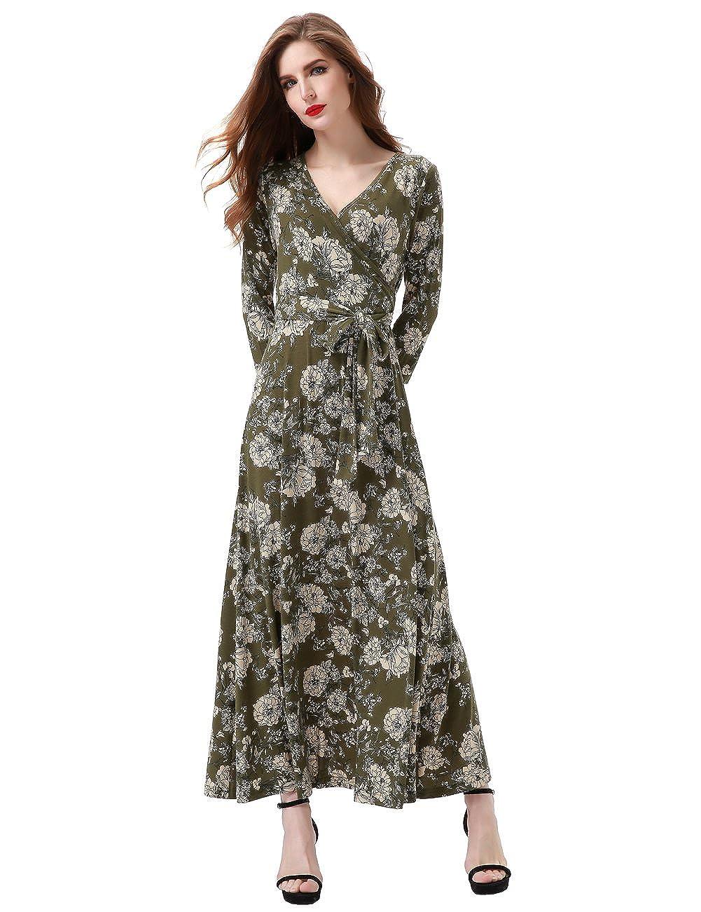 70s Dresses – Disco Dress, Hippie Dress, Wrap Dress Aphratti Womens 3/4 Sleeve Vintage Faux Wrap Long Maxi Dress with Belt $27.99 AT vintagedancer.com