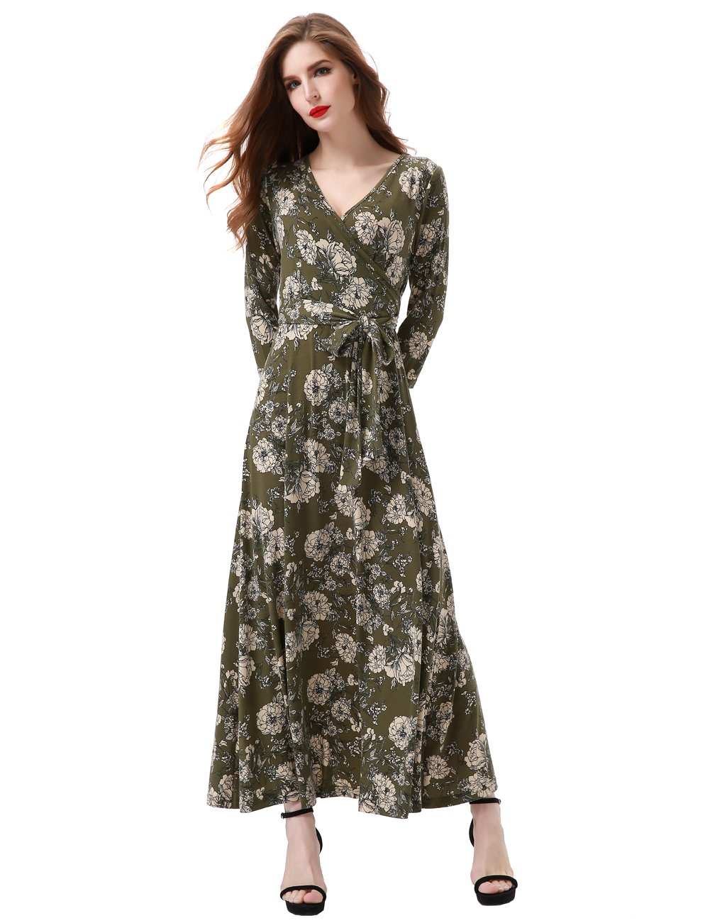 Aphratti Women's 3/4 Sleeve Vintage Wrap Long Maxi Dress with Belt X-Large Green