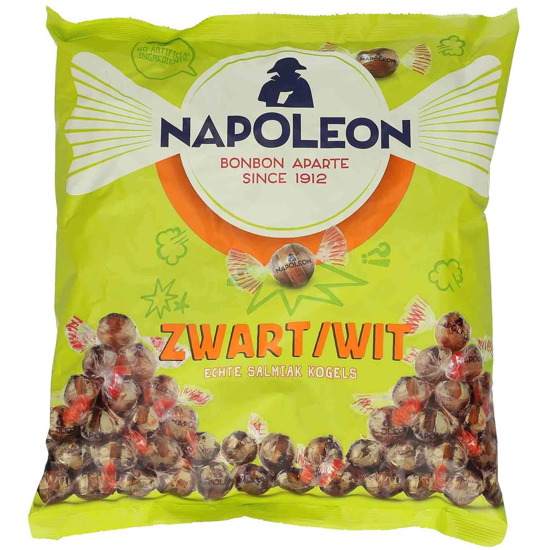 Napoleon Swart/Wit 1kg - Salty Salmiak balls with powder filling