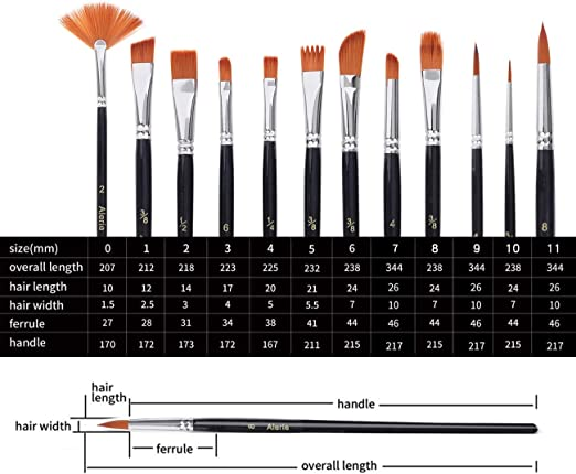 12 pcs Oil Painting Brushes Artist Acrylic Panit Art s Tools Set Limner D1A4