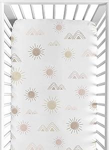 Sweet Jojo Designs Boho Desert Sun Girl Fitted Crib Sheet Baby or Toddler Bed Nursery - Blush Pink Mauve Gold Taupe Bohemian Watercolor Mountains Southwest Nature Outdoors Minimalist Geometric