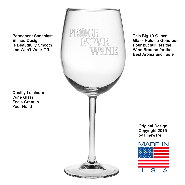 Amazon Fineware Peace Love Wine 19 Oz Wine Glass Etched