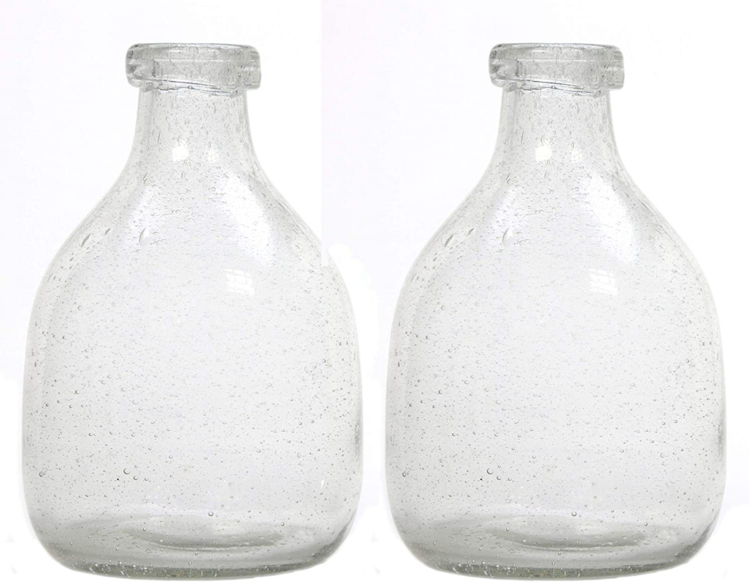 Hosley Set of 2 Clear Glass Bottle Vases 7'' High. Ideal Floral Vase Gift for Wedding Special Occasion Home Office Dried Floral Arrangements O5…