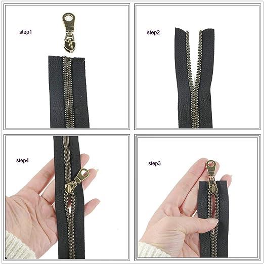 artesan/ía bolsos para trabajos de costura Rollo de 9,1 m de cremallera met/álica negra con dientes en color lat/ón y 25 deslizadores dorados Leekayer #5 Gunmetal