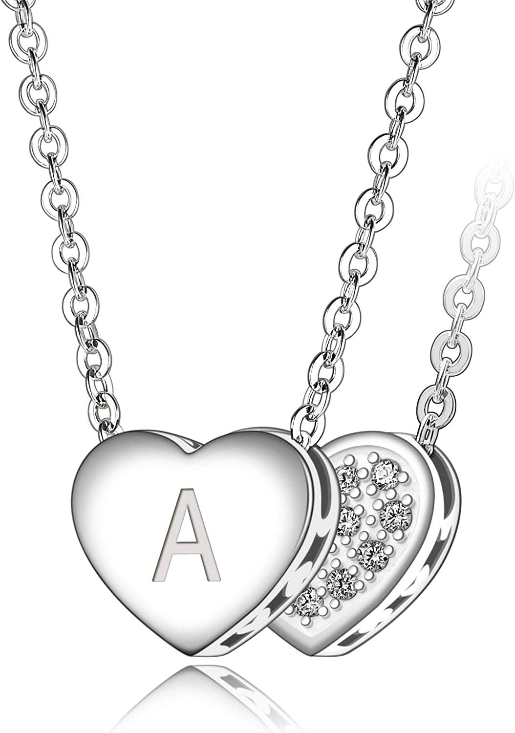 Hand Stamped Sterling Silver Jewelry Heart Necklace Letter i Necklace i All letters Available Initial Necklace Charm Necklace