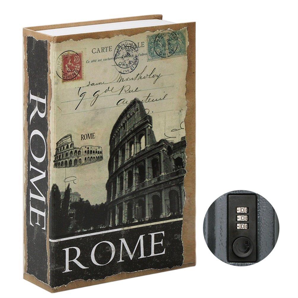 Jssmst Diversion Book Safe with Combination Lock, Secrect Hidden Safe Lock Box Large, SMBS020 Rome by Jssmst