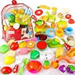 BeebeeRun Cutting Pretend Play Food with Clear Back-Pack, 41 Pcs Toy