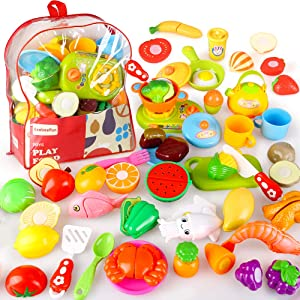 BeebeeRun Cutting Pretend Play Food with Clear Back-Pack, 41 Pcs Toy Kitchen Set, Food Learning Toys for 3 4 5 6 7 Years Old Toddler Boys and Girls