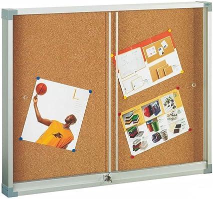 Faibo 288476 - Vitrina de corcho con puerta corredera, 90 x 120 cm ...