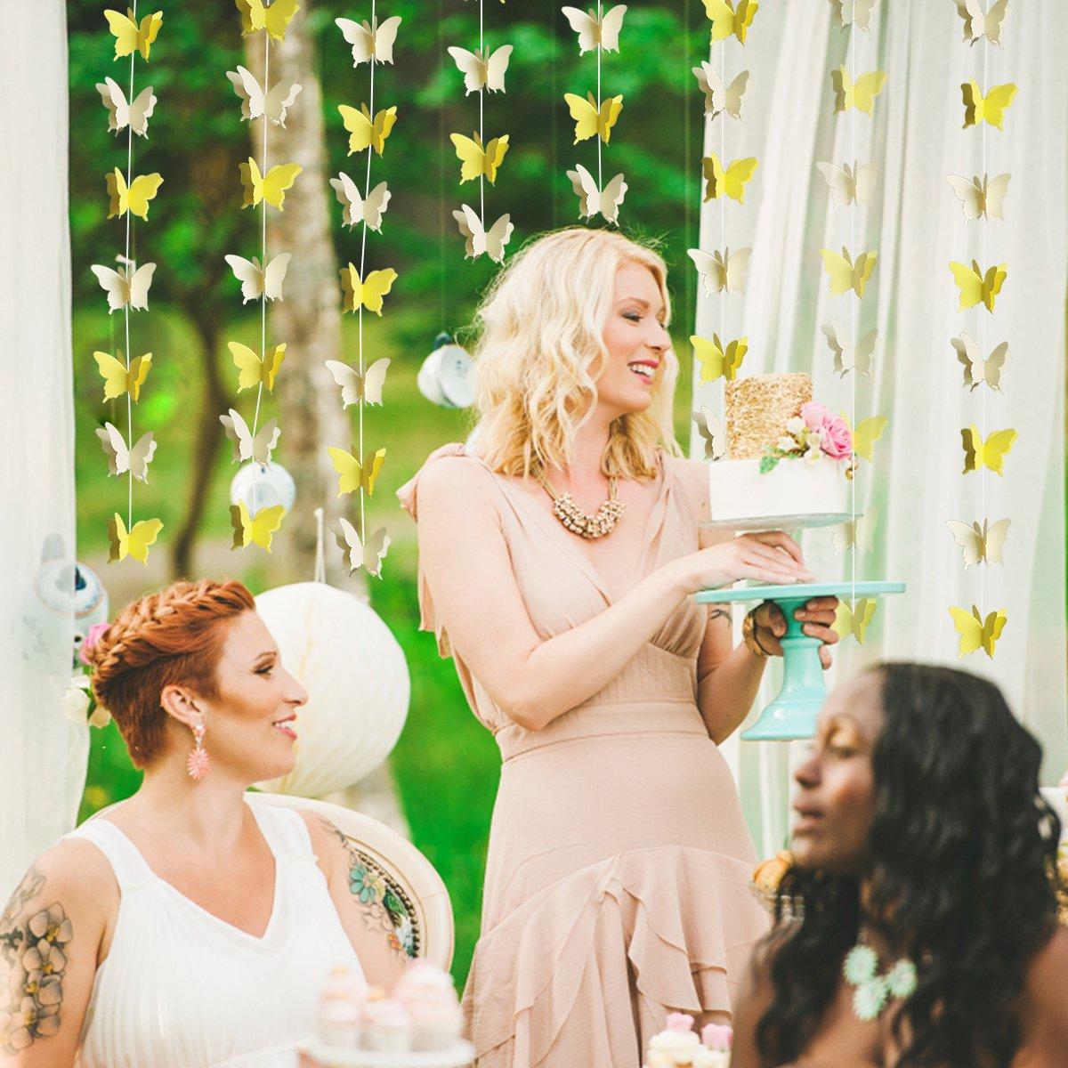 3D-Papier-Wimpelkette 110 cm lang gelb Party-Dekoration Heimdekoration Cieovo Schmetterlings-Girlande zum Aufh/ängen Hochzeit Babyparty