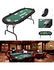 COSTWAY Foldable Poker Table with Steel Stand for 8 Players, W/ Drink Holders, Soft Speed Cloth & Padded Cushion Rim for Upgraded Experience, Professional Design for Casino, Party, 185 x 82 x 75CM