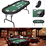 Costway 8 Players Foldable Poker Table Top Casino Cards Game W/ Drink Holders (Foldable Poker Table)