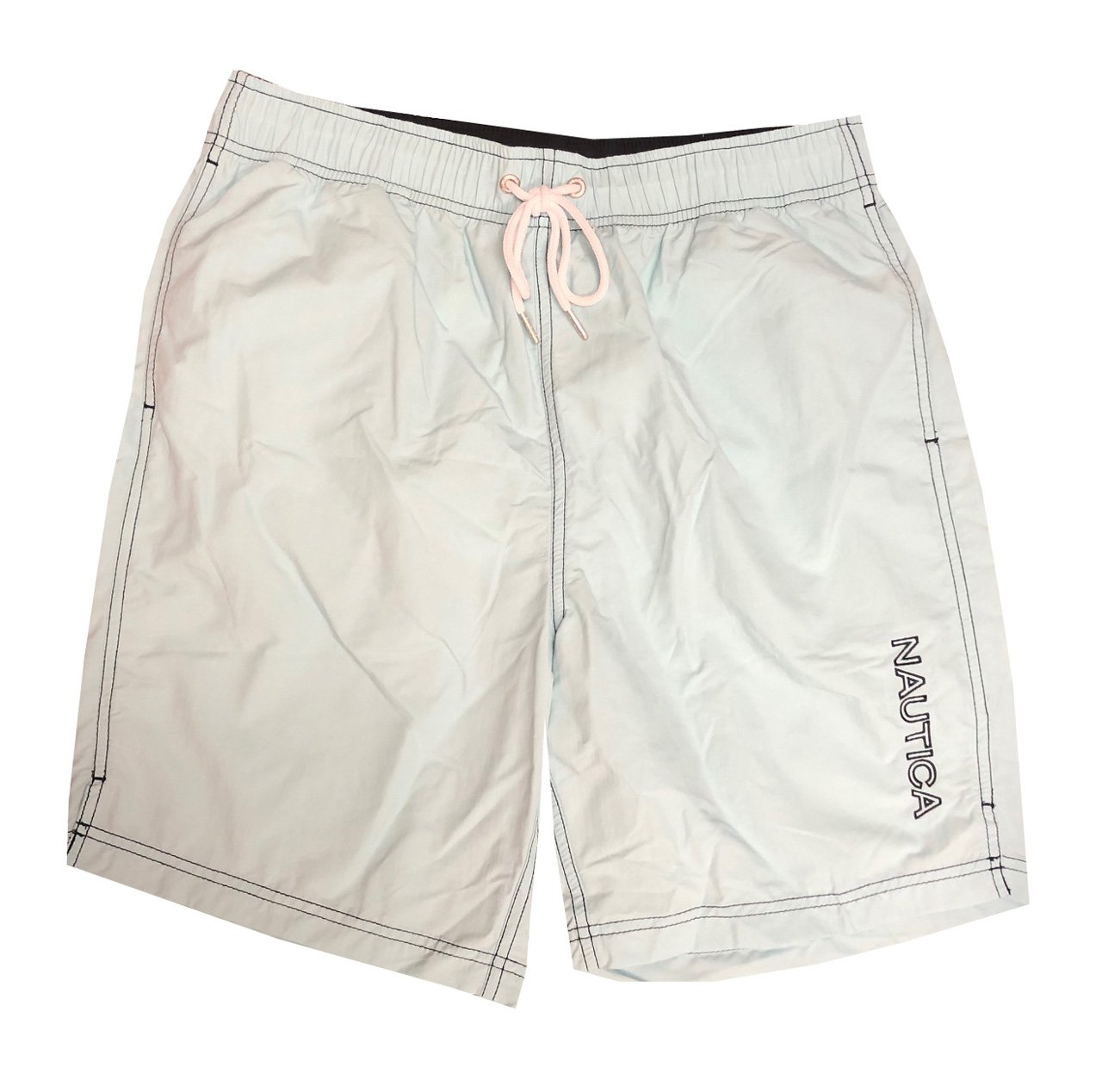 Nautica Mens Quick-Dry Logo Swim Trunk Shorts (XL, Light Aqua(478))