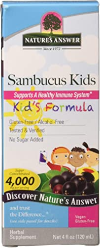 Nature's Answer Bioavailable Sambucus Kids Formula 4-Fluid Ounces Kosher Certified Organic Elderberry Syrup Great Taste Gluten-Free Dietary Supplement No Artificial Preservative