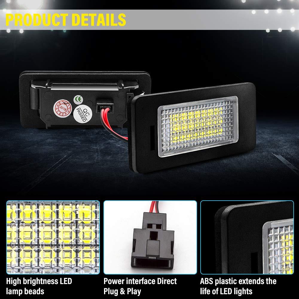 2 St/ücke Safego LED Kennzeichenbeleuchtung Nummernschildbeleuchtung Licht 6000K Xenon Wei/ß 12V f/ür TO-YO-TA CAMRY//COROLLA//PRIUS C//RACTIS//YARIS 1 Jahr Garantie