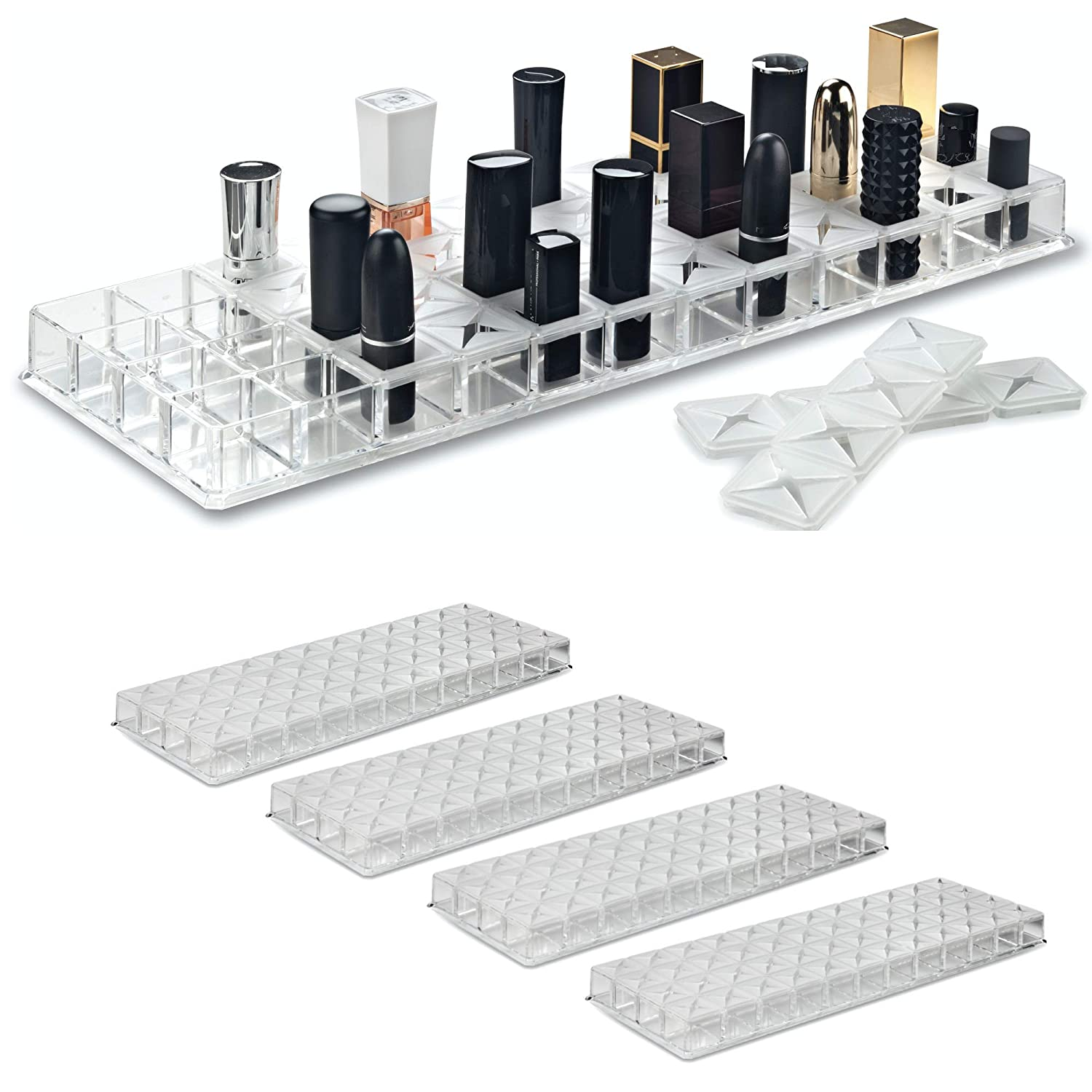 byAlegory (Set of 4) Acrylic Lipstick Makeup Organizer w/Removable Silicone Support Inserts 48 Spaces Fits Most Drawers Refillable Cosmetic Container - Clear