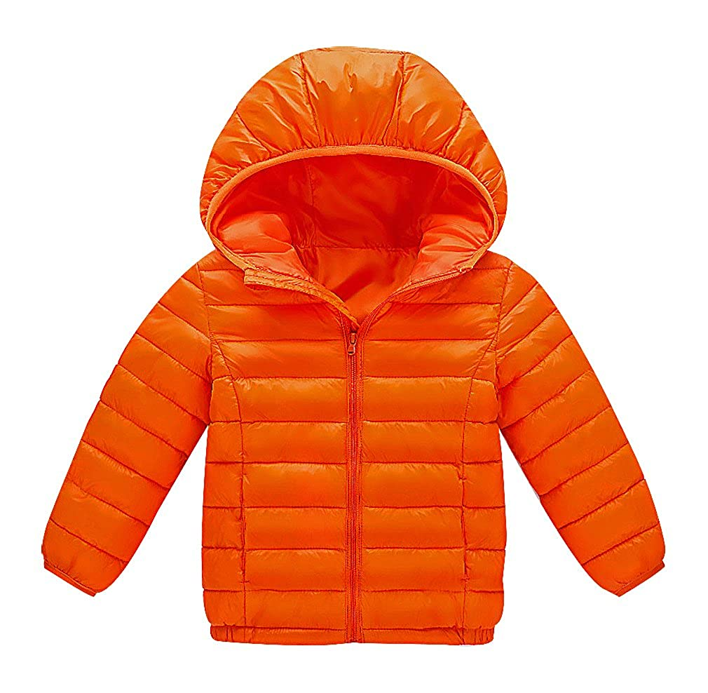 BPrincess Kid Lightweight Zip Up Quilted Solid Color Cotton Filled Hooded Jacket