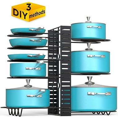 VDOMUS Pan Organizer Rack with 3 DIY Methods, Height Adjustable Kitchen Pan and pot Lid Holder (Black)