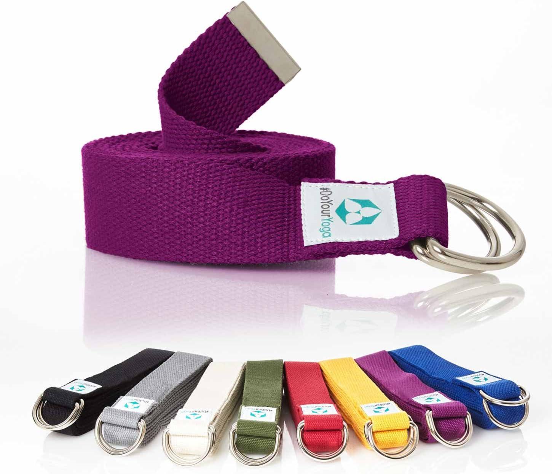 DoYourYoga Cinturón de Yoga »Madira« / Correa para Yoga de algodón 100% con un Cierre Estable en Forma de Anillas metálicas / 250 x 3,8 cm/Violeta: Amazon.es: Deportes y aire libre