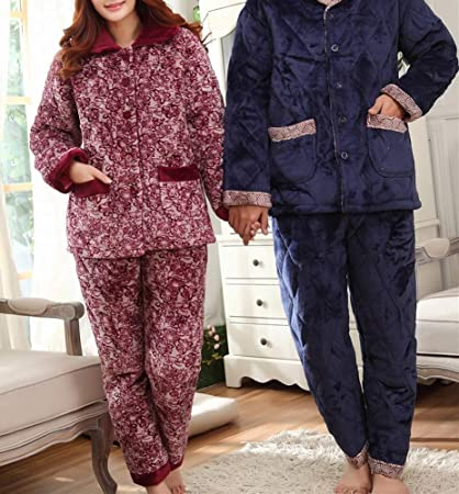 c256c0e886 Pajamas - Winter Three-Layer Thick Flannel Quilted Pajamas in The Old  Couple Home Service
