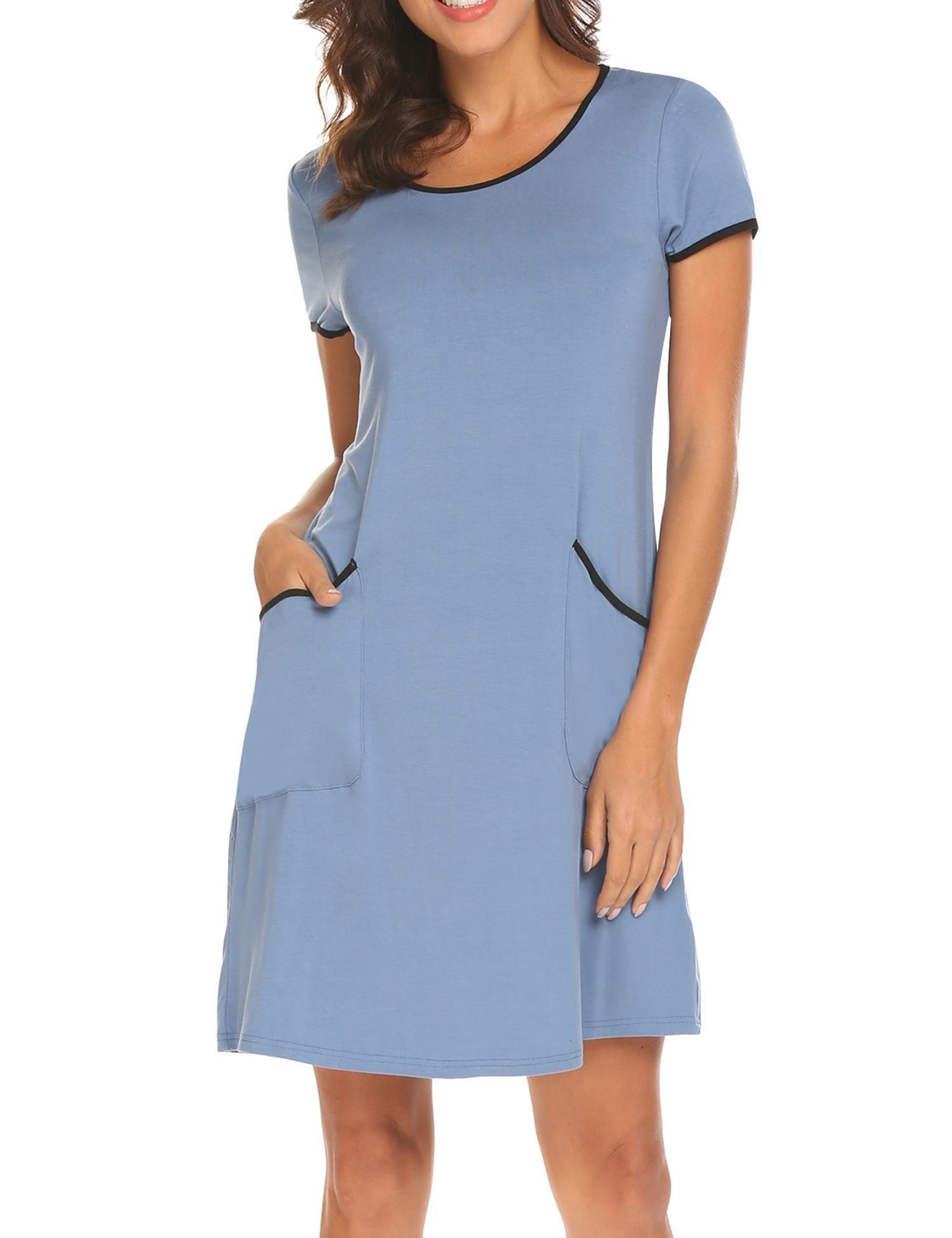 Ekouaer Women's Short Sleeve O-Neck Sleep Shirt Contrast Color T Shirt Dress with Pockets (Steel Blue M)