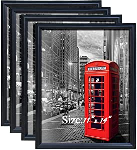 PETAFLOP Black 11x14 Picture Frame Wall and Tabletop Poster Frames, Gallery Wall Frame Set, Set of 4