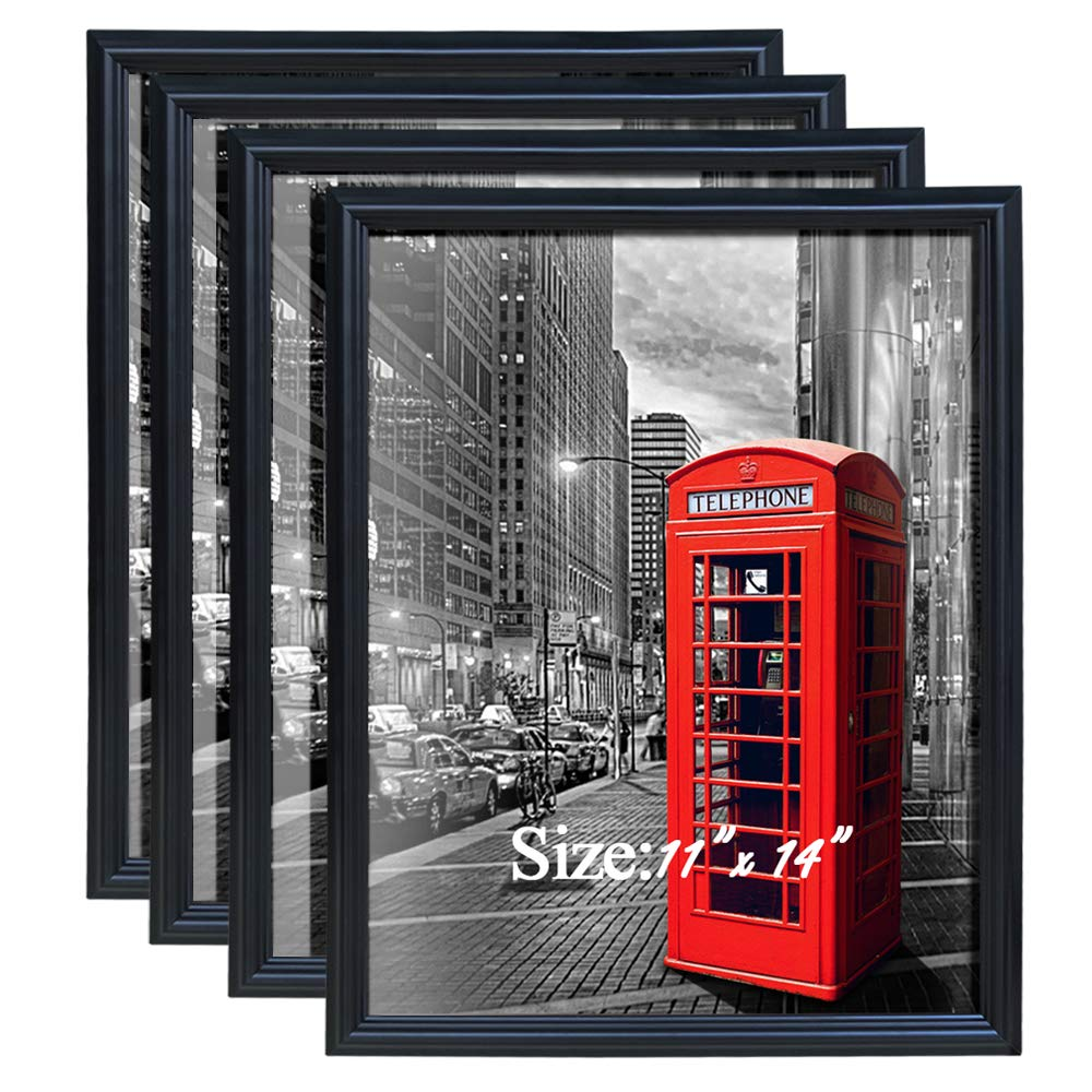 PETAFLOP Picture Frames 11 x 14 Wall and Desktop Display Poster Frame Fits Prints 11 by 14 inch, Pack of 4 CH180605N