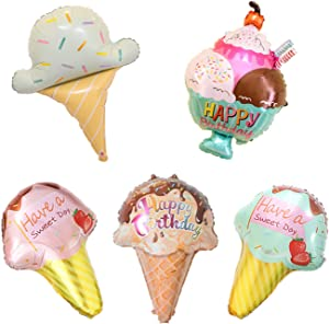 5PCS Kawaii Ice Cream Foil Balloons -Ice Cream Themed Party Supplies Decorations Baby Shower Sweet Food Candy Balloons for Summer Beach Wedding Birthday Party Favors