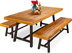 Best Choice Products 3-Piece Indoor Outdoor Rustic Acacia Wood Picnic Dining Table Furniture, Seats Up to 6
