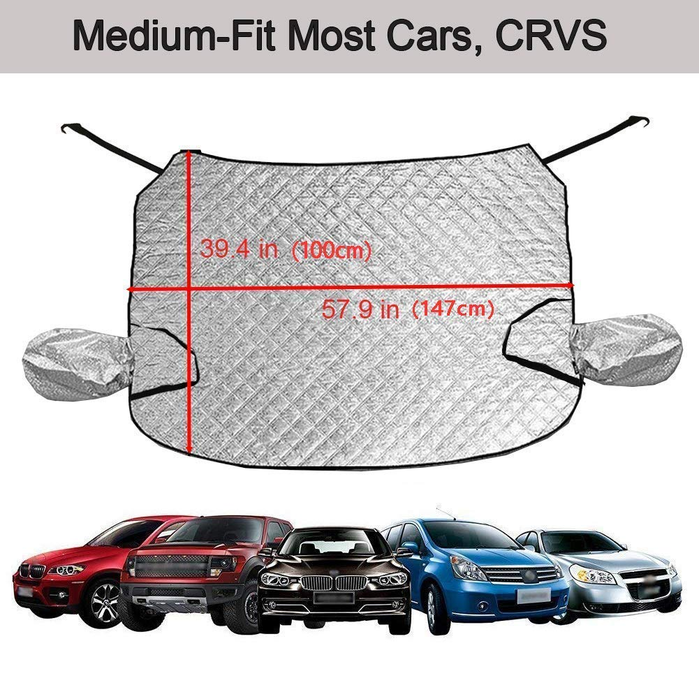 Snow Cover with Mirror,Protect Windshield and Mirrors Keep your Vehicle Clean and Freeze Free in Winter L-158 x 108 cm For SUV Van Jeep Big Ant Windscreen Cover,Windshield Cover Car Snow Cover