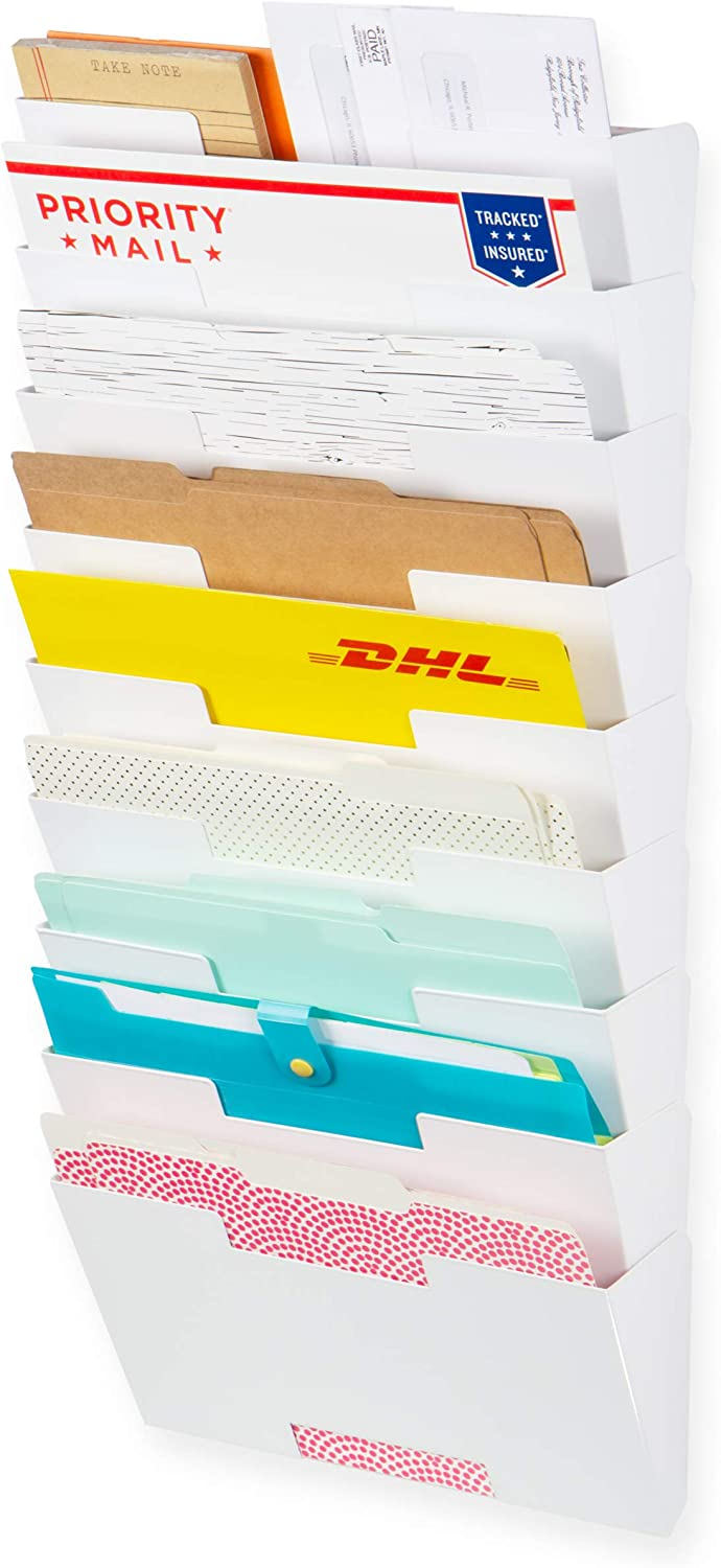Wallniture Dots Lisbon 9-Tier White Wall File Holder Organizer for Organization and Storage, Metal Office Decor and Magazine Holder
