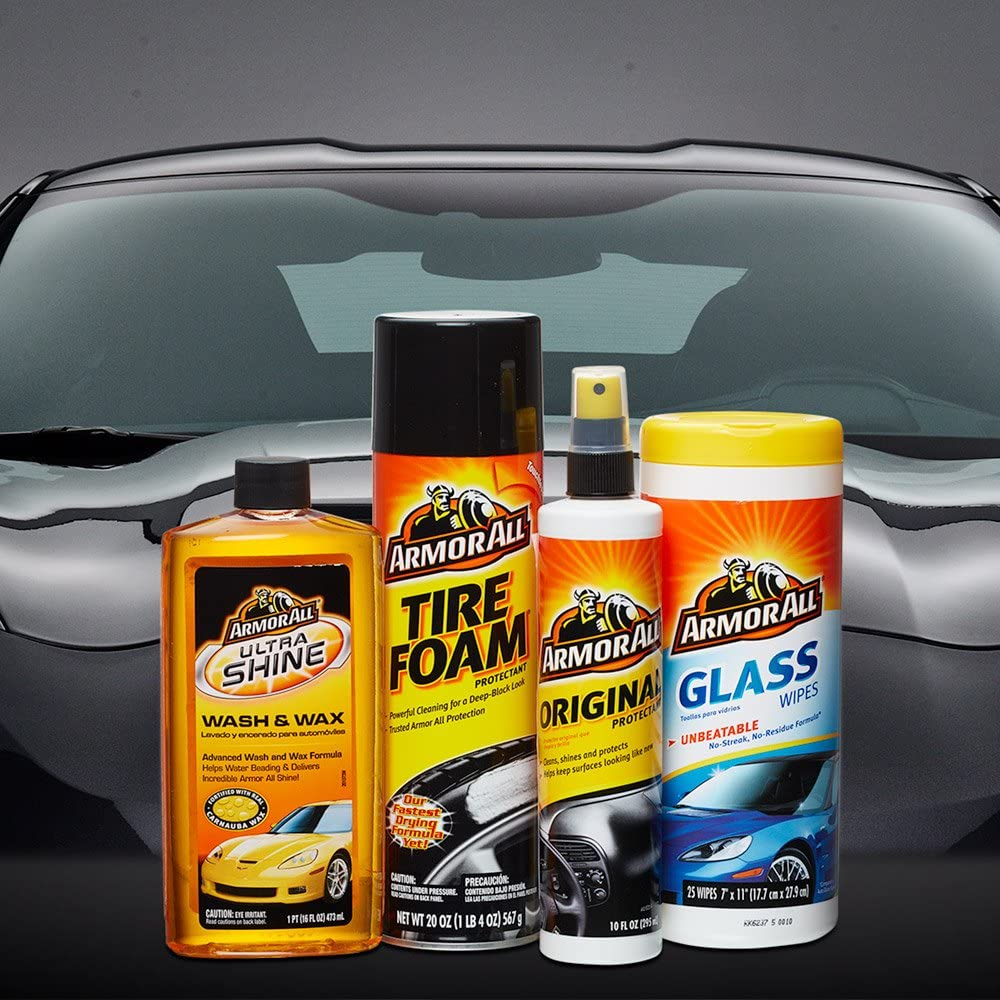 Armor All Car Wash and Cleaner Kit (4 Items) - 2pc Glass Wipes & Protectant with Wax & Wash Concentrate and Tire Shine Foam, 13703C: Automotive