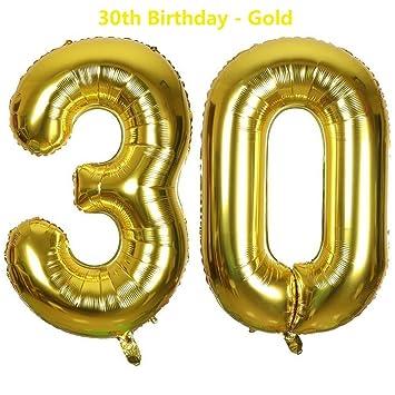 Meowoo Globo de Cumpleaños 30 Globo de Papel de Aluminio Globo Grande 100cm 40 Pulgada Fiesta de cumpleaños Suministros Decoración (Golden Num 30)