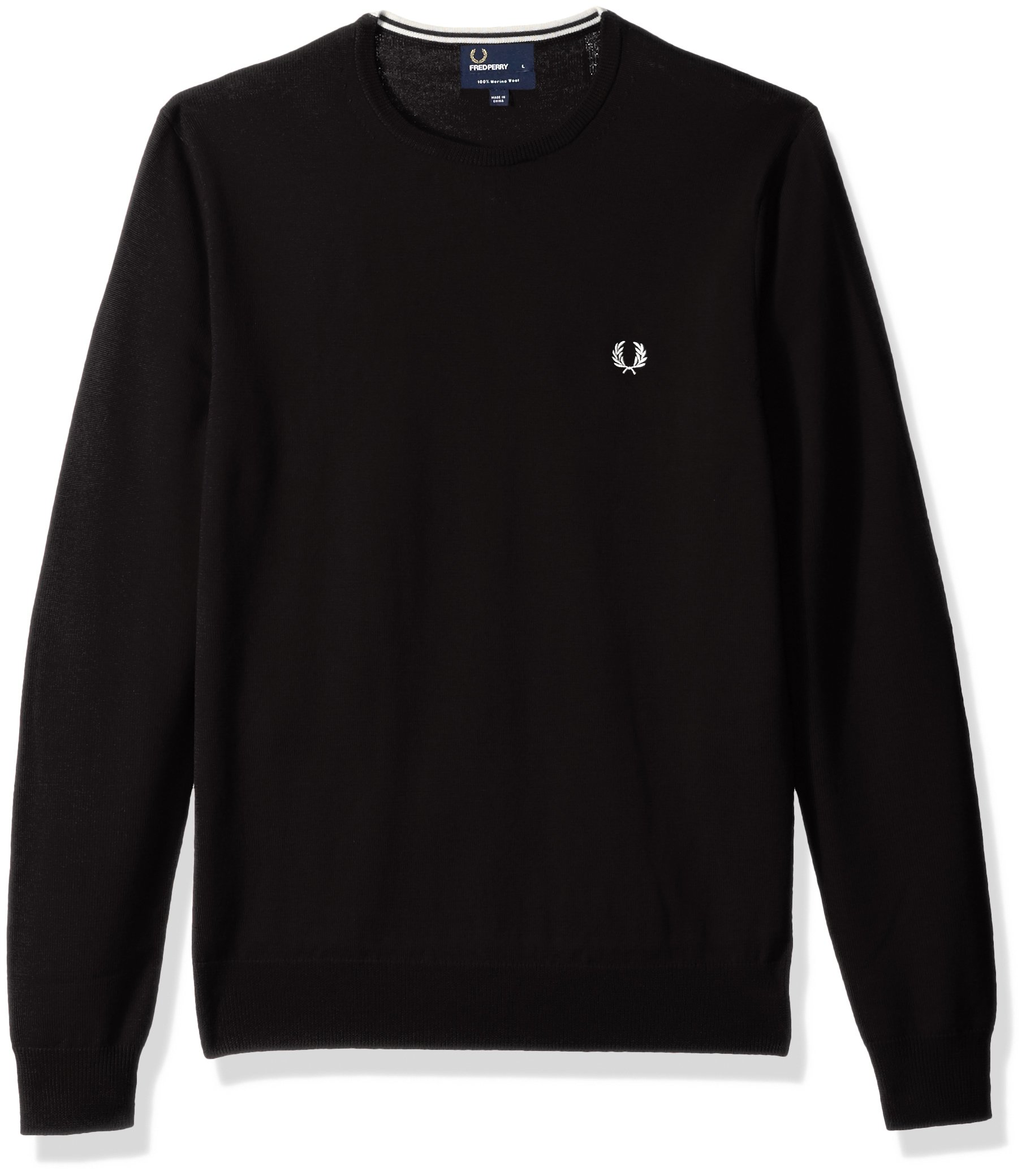 Fred Perry Men's Classic Crew-Neck Sweater, Dark Chocolate, Large